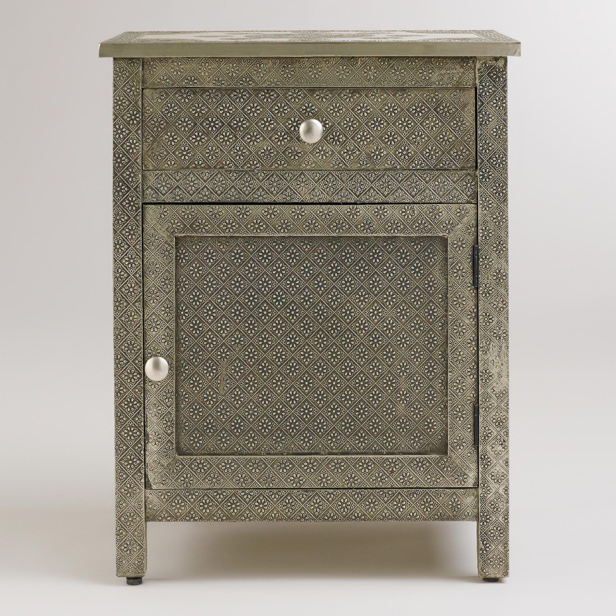 Kiran embossed metal cabinet world market home pinterest