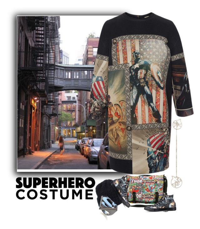 """""""Superhero Costume"""" by ladygroovenyc ❤ liked on Polyvore featuring FAUSTO PUGLISI, Vintage 55, La Môme, Converse and Noir"""