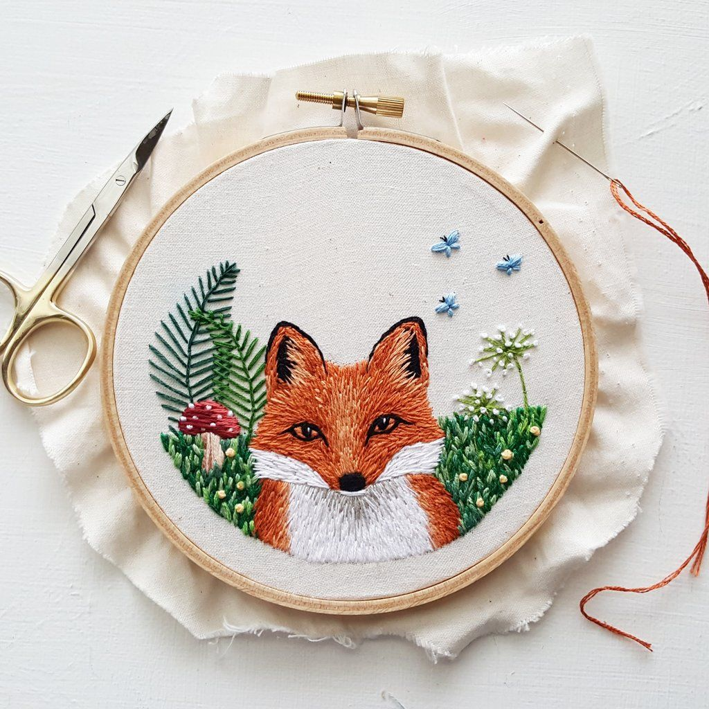 Little Fox Embroidery Pattern (PDF) | Bordados | Pinterest | Bordado ...
