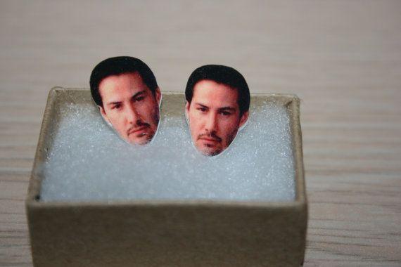 Keanu Reeves Post Stud Earrings Celebrity Jewelry by charm456