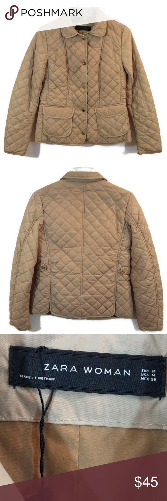 Zara Woman Tan Button Quilted Puffer Jacket Coat Quilted Puffer Jacket Zara Women Zara [ 1740 x 580 Pixel ]