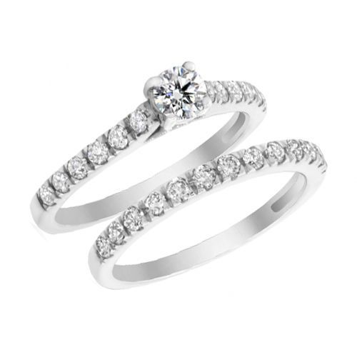 Solid 10k White Gold 0 75ct Diamond Solitaire Engagement Wedding Bridal Ring Set Engagement Wedding Ring Sets Wedding Rings Bridal Ring Set