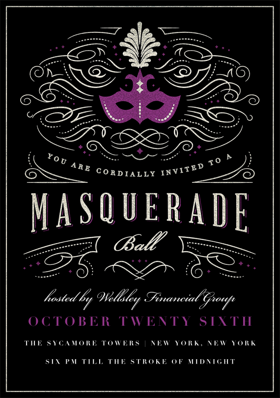Masquerade ball invitations in purple masquerade ball masquerades and masquerade party for Maquerade invitations