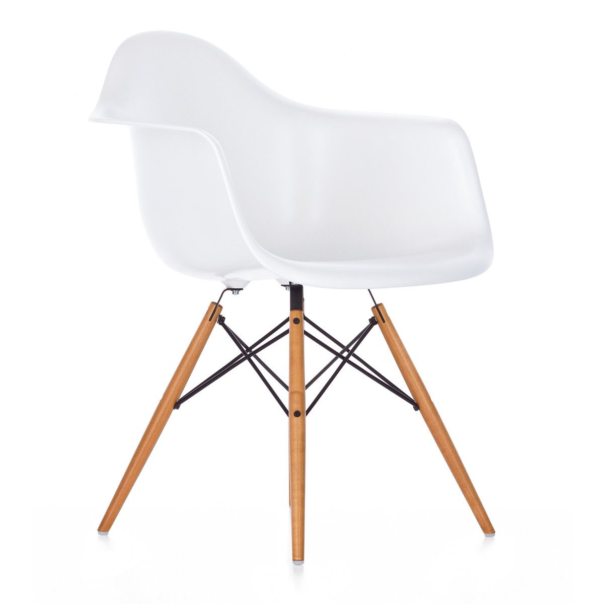 Eames plastic chair wooden legs - Vitra Eames Plastic Armchair Daw Ahorn Gelblich Wei Filzgleiter