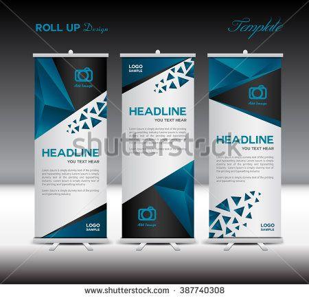 Blue Roll Up Banner Template Vector Illustrationbanner