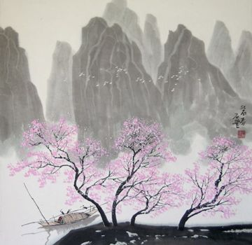 Japanese Cherry Blossom Trees And Mountain Asian Art Chinese Landscape Spring Painting