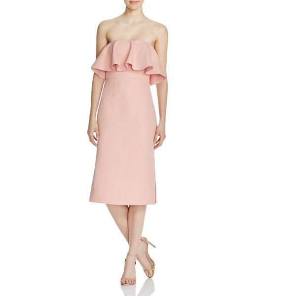 C/Meo Collective Take Care Ruffle Dress - 100% Bloomingdale's... (£137) ❤ liked on Polyvore featuring dresses, dusk, pink strapless cocktail dress, heart dress, pink dress, pink cocktail dress and petal pink dresses