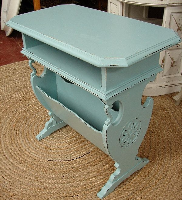 Vintage Reclaimed Covington Blue Painted Shabby Chic Cottage Magazine Book  Library Accent Side Table (Ships