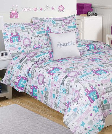 purple u0026 gray sparkle princess mini comforter set