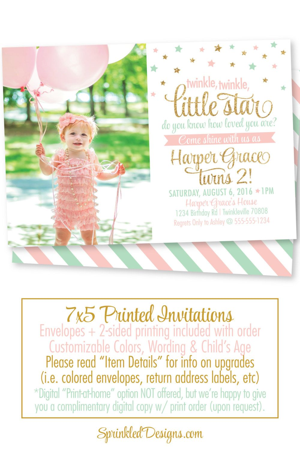 Twinkle Twinkle Little Star Birthday Invitation with Photo - Star ...