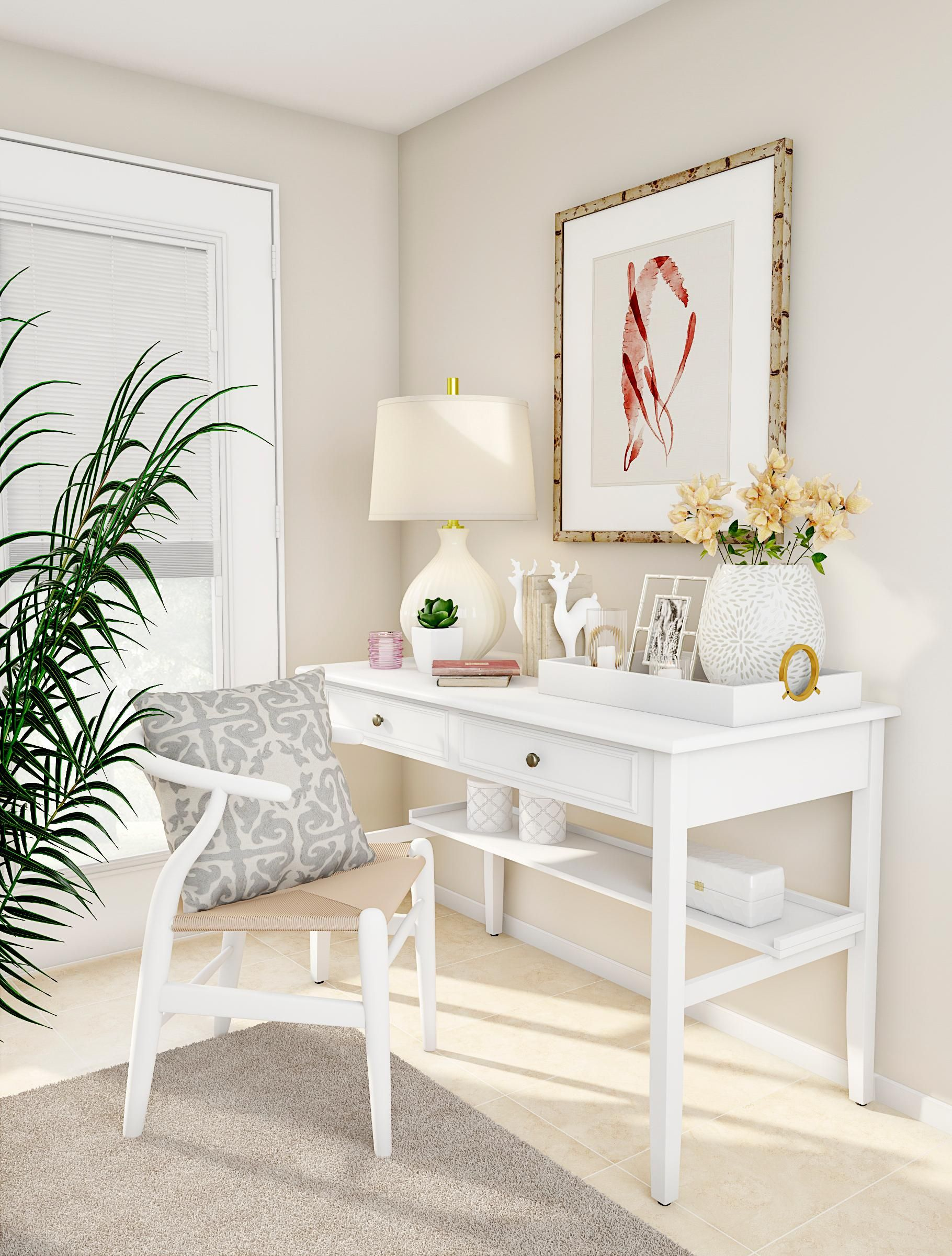 claim a space for peaceful productivity this home office is light rh pinterest com