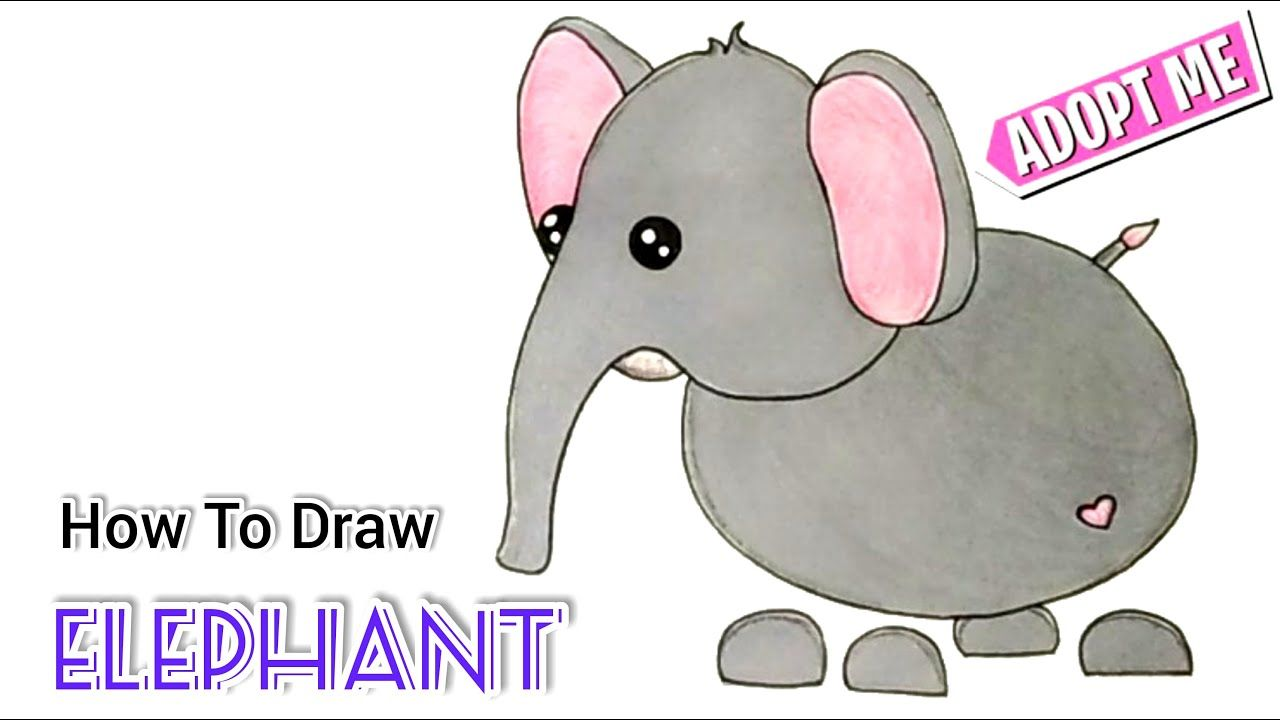 How To Draw A Elephant Roblox Adopt Me Pet Cartooning Cute Drawings In 2020 Pets Drawing Cute Drawings Pets