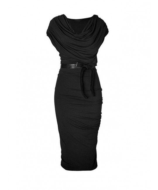 Spandex Glamorous Gray Hemp Draped Jersey Dress with Belt  Mother Of The Bride Dress