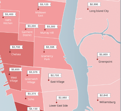 Mapped New York City Neighborhood Rent Prices Winter 2019 In 2020 Rent Prices The Neighbourhood Rent