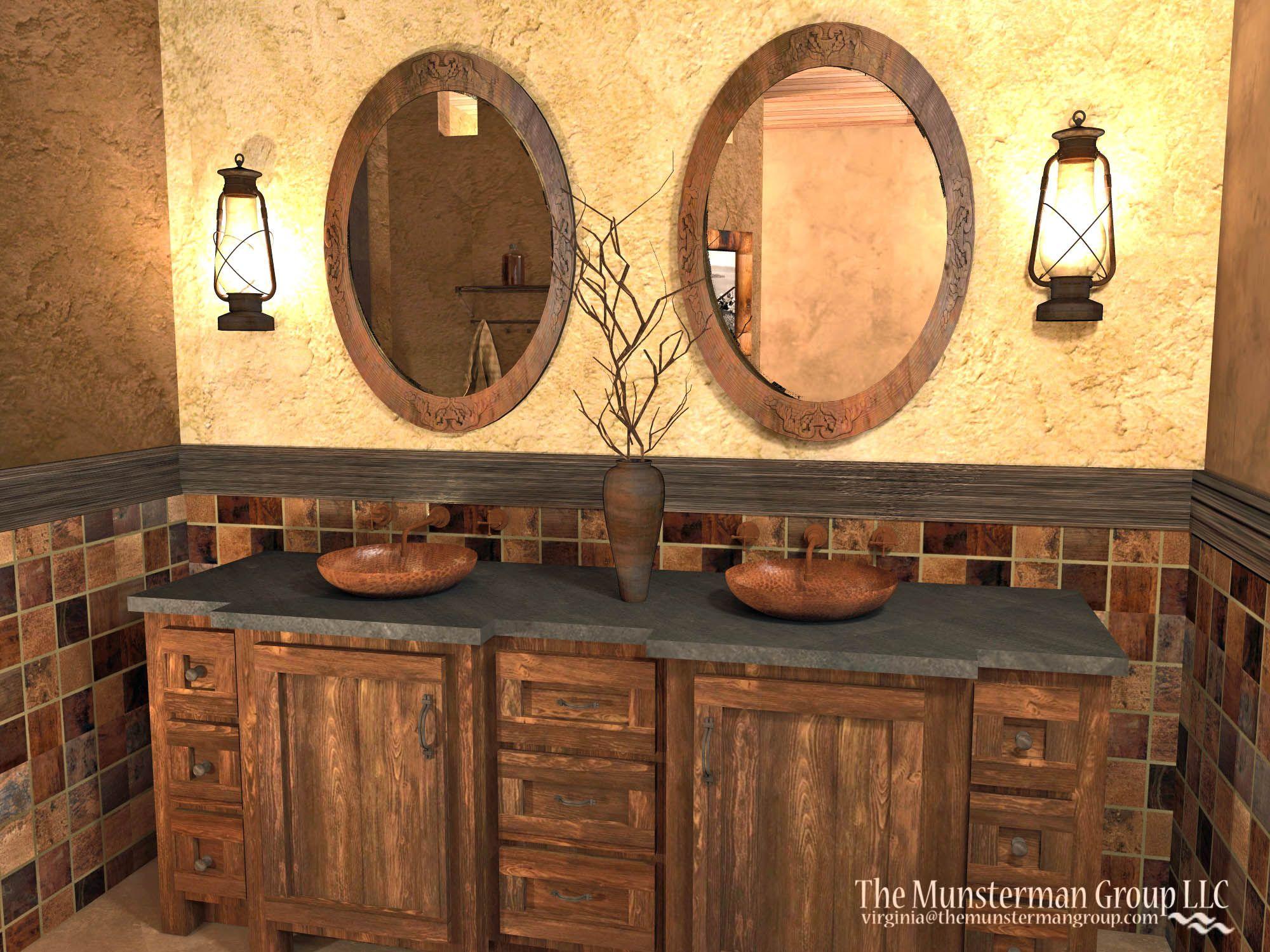 copper bath concept copper tiling backsplash lantern fixtures rh pinterest com