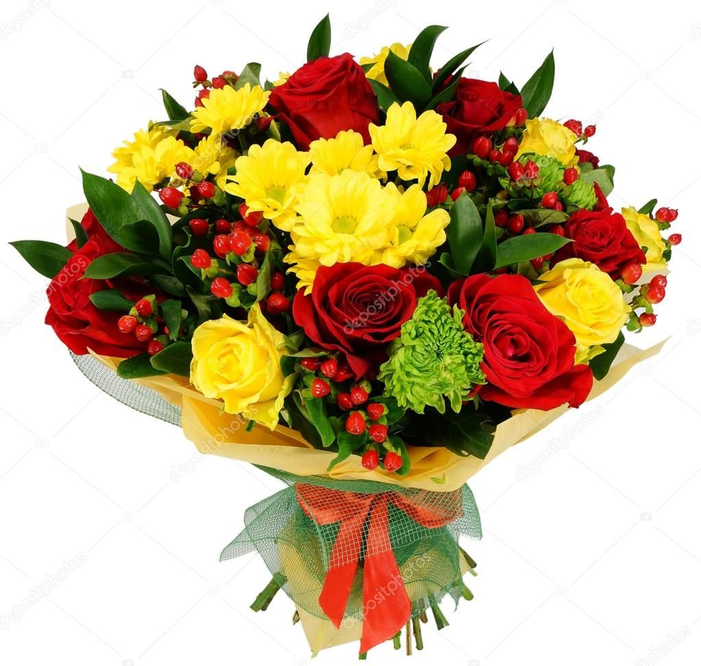 Bouquet of chrysanthemums and red rose Stock Photo ,
