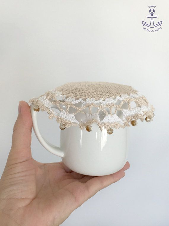 Jug cover Cosy crochet doily coaster beaded Glass Bowl Food cover ...