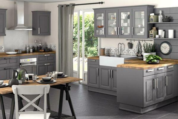 d co cuisine gris et bois cuisine pinterest deco. Black Bedroom Furniture Sets. Home Design Ideas