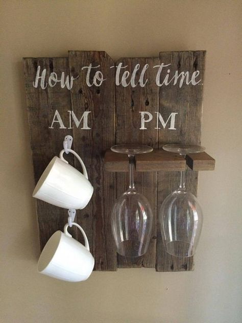 Diy Home Decor Signs Classy How To Tell Time  Wine Glass Sign  Coffee Cup Sign  Wood Sign Design Decoration