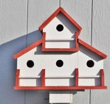 Cedar red and white multi-compartment barn wood birdhouse