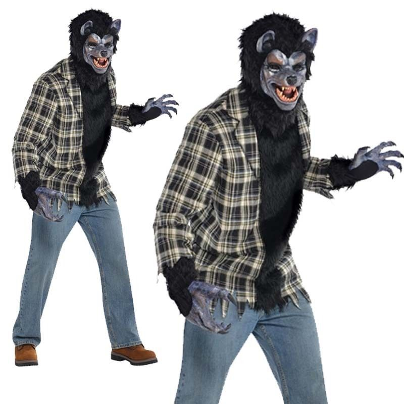 Men/'s Women/'s Brown Hairy Werewolf Hands Halloween Fancy Dress Costume Gloves