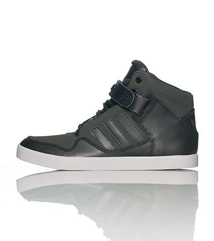 208013a1c7ea adidas Men s high top sneaker Lace up closure with single velcro strap  Padded tongue with adidas logo Cushioned sole Black shoe with greyish-green  surface