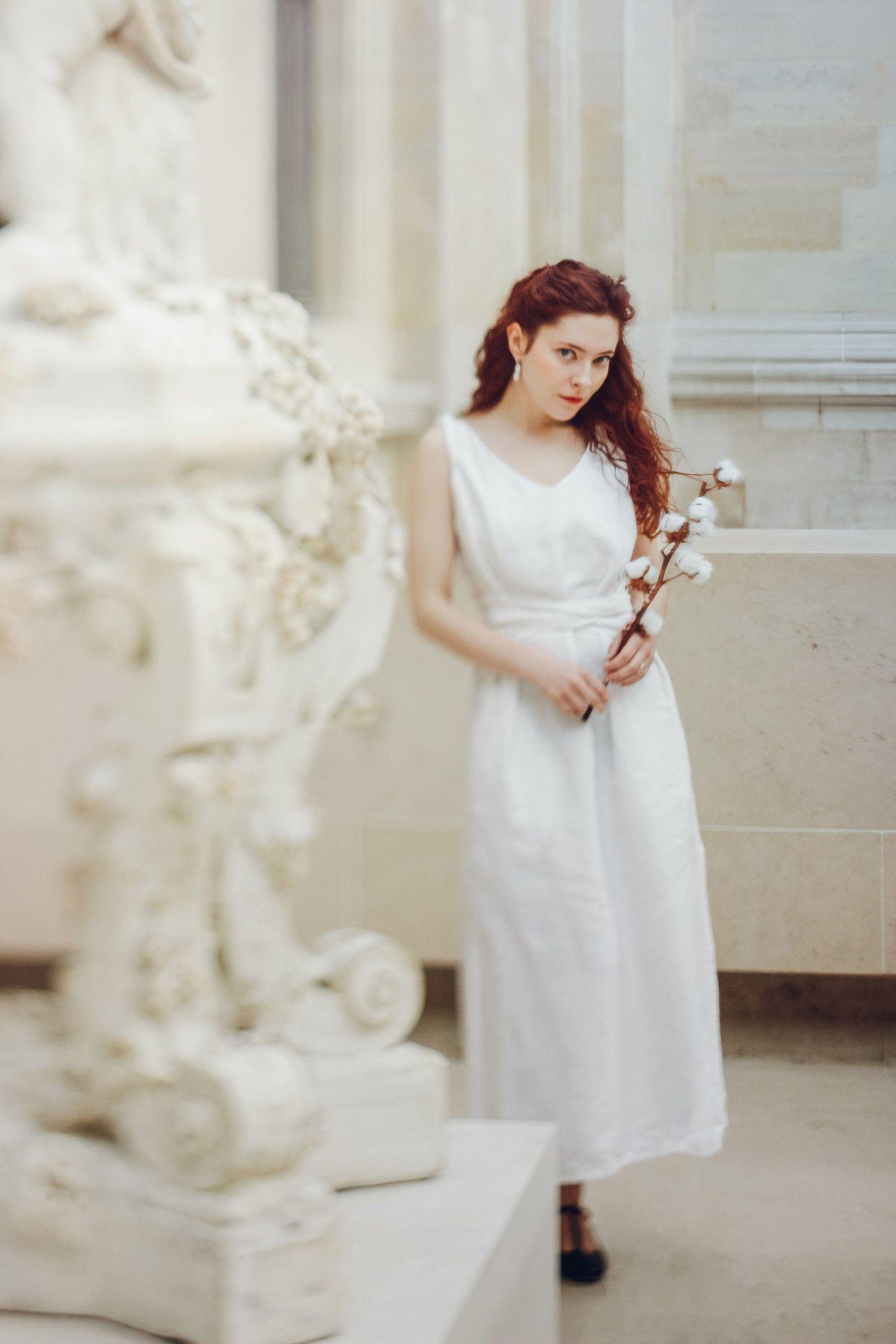 Simple Wedding Dress White Linen Dress Etsy Linen Wedding Dress Wedding Dresses Simple White Linen Dresses [ 2382 x 1588 Pixel ]