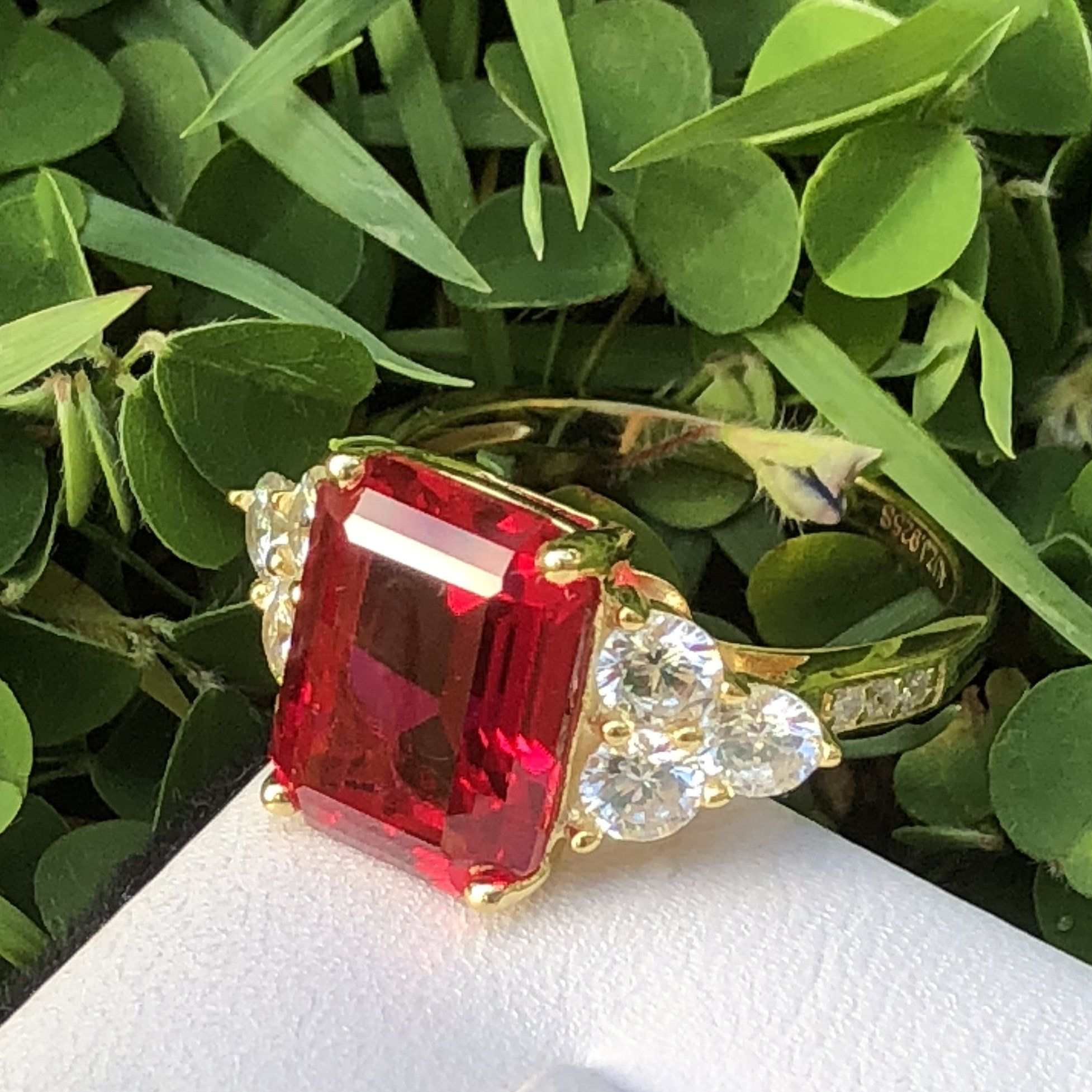 Ruby ring yellow gold plated emerald cut simulated created ruby