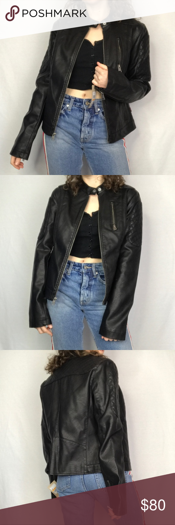 NWT Levi's Faux Leather Jacket in Black Jackets, Faux