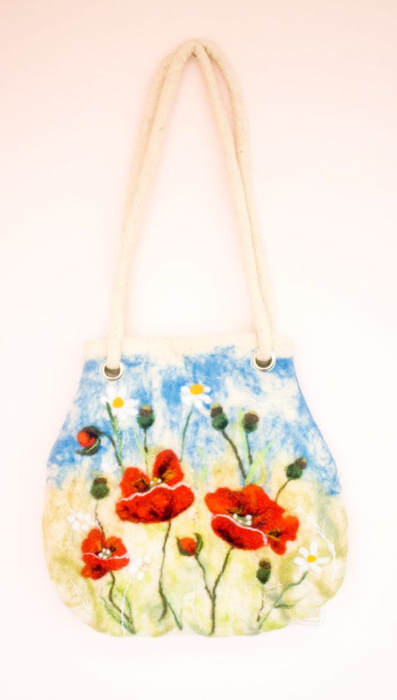 Felted  Bag Red Poppy Camomile ang gift by irinaonix on Etsy, $75.00
