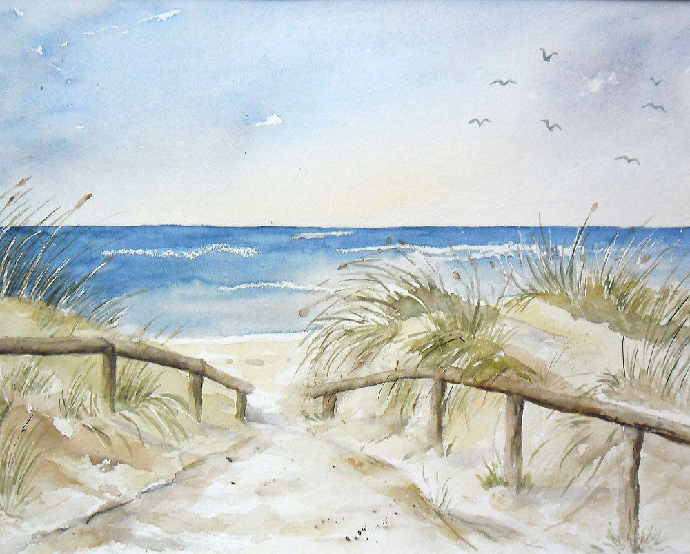 Strandweg zur Nordsee - Aquarell - Original - 24 x 32 cm | Antiquitäten & Kunst, Kunst, Aquarelle | eBay! #wasserfarbenkunst