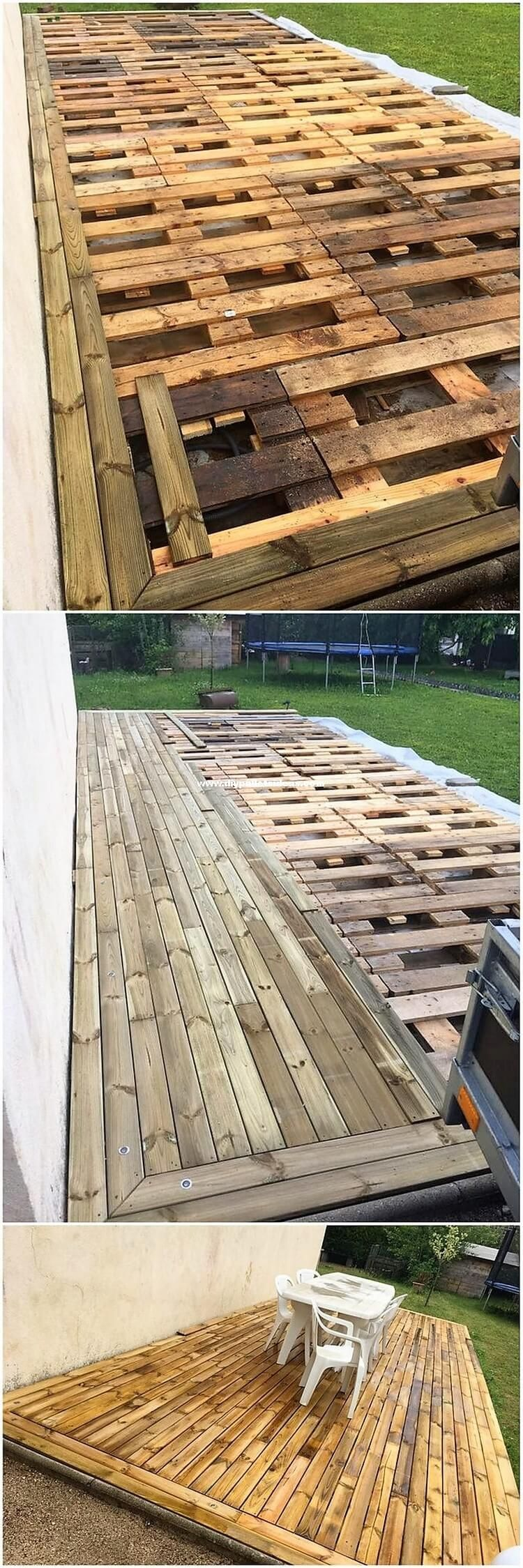 DIY Pallet Ideas and Pallet Furniture Designs This is one of the amazing idea of using the recycle wood pallet material in the garden terrace view as for the house garden areas. This idea is all comprised with the alternatives that is settled with the portions of the wood on the whole surface being part of it.This is one of the amazing idea of ...