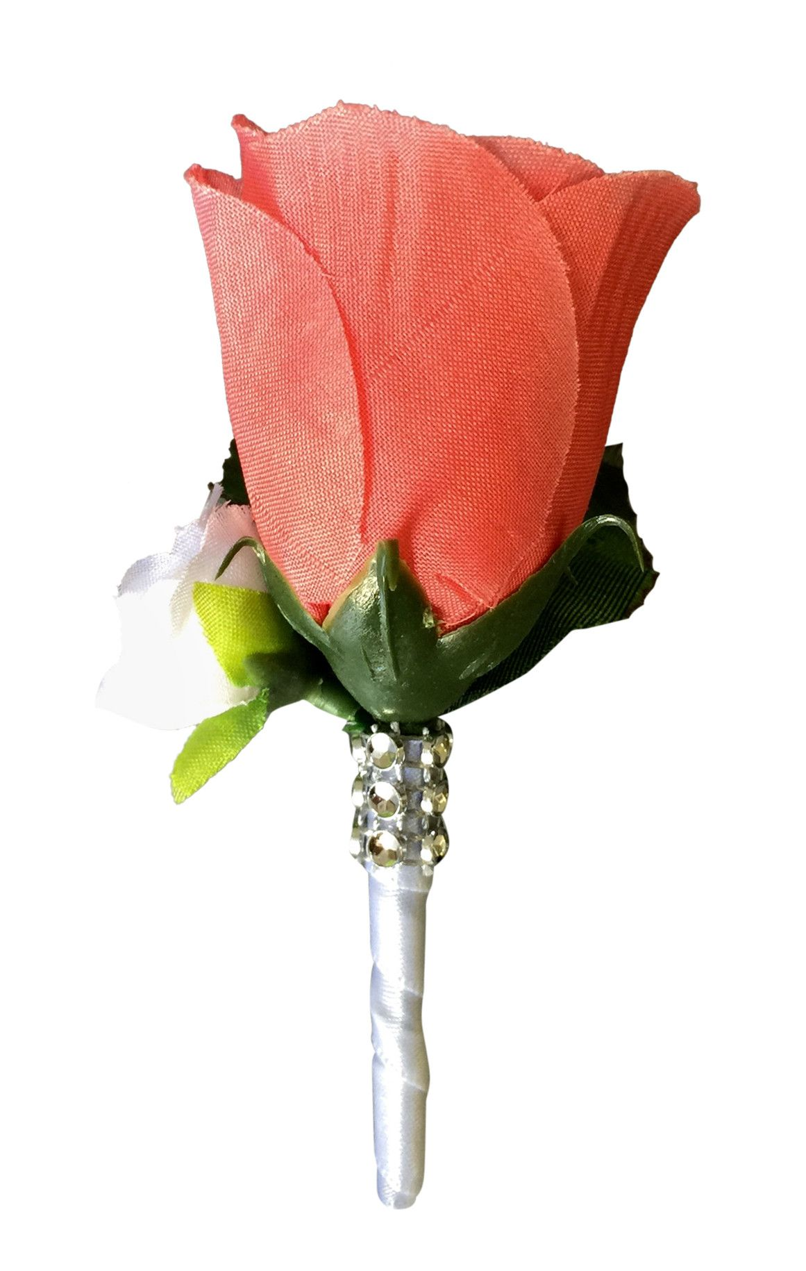 Boutonnierecoral Rose Bud With Mini White Rose Silk Flower Out Of