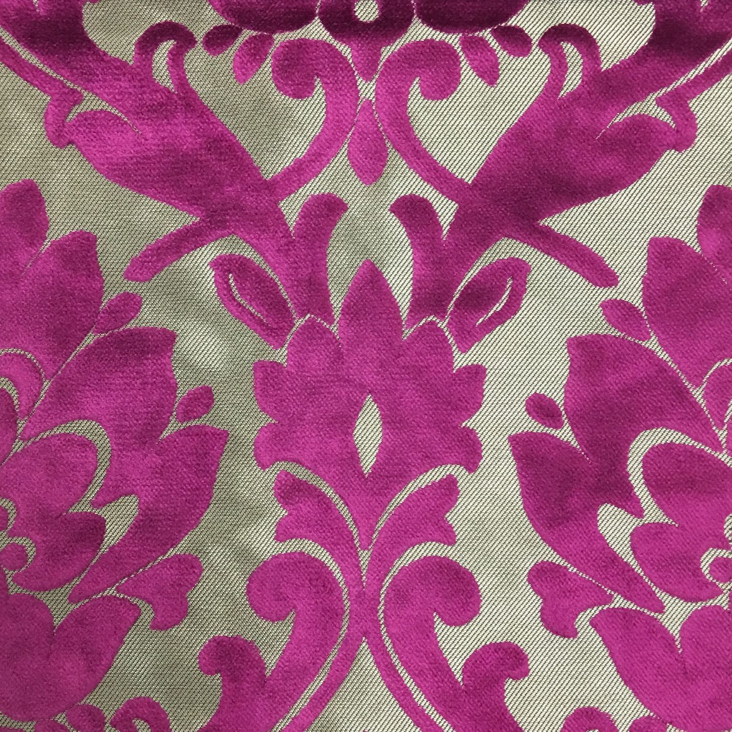Radcliffe Damask Pattern Lurex Burnout Velvet Upholstery Fabric