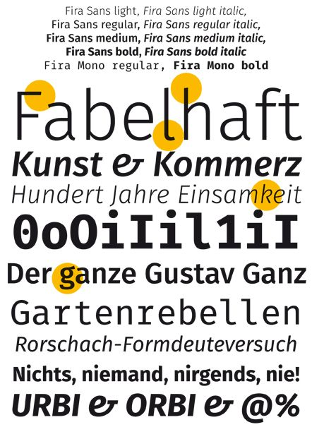 """""""Fira Sans"""" free font, designed by Erik Spiekermann & Carois Type Design for Firefox OS (download: http://www.mozilla.org/en-US/styleguide/products/firefox-os/typeface/)"""
