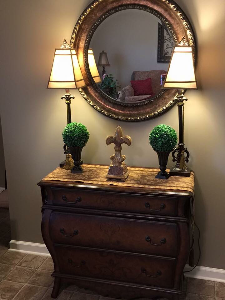 Vintage Entry Table Display ~ Vintage bombay chest with round mirror and buffet lamps