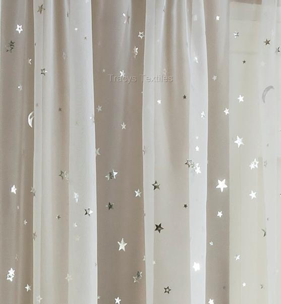 STARLIGHT MOONLIGHT SHEER WHITE & SILVER VOILE PANEL - Moon and Stars Design | eBay