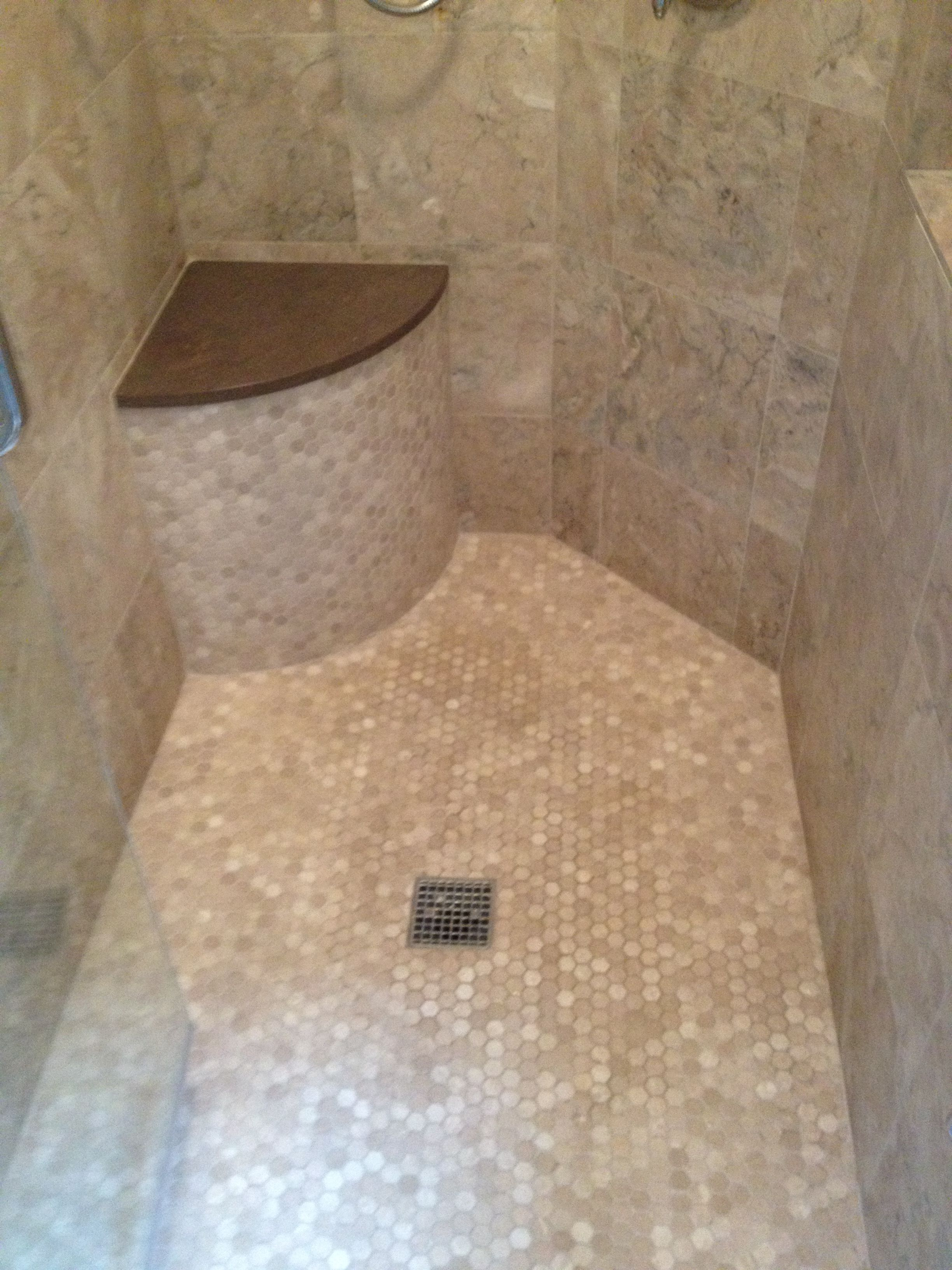 Custom Tile Shower Like The Curved Bench In The Corner In