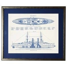 Ship blueprint framed wall art available in three different sizes luxuries for the home the well appointed home wall decor art clocks magnet boards mirrors shelving hooks signs framed art paintings giclees malvernweather Image collections