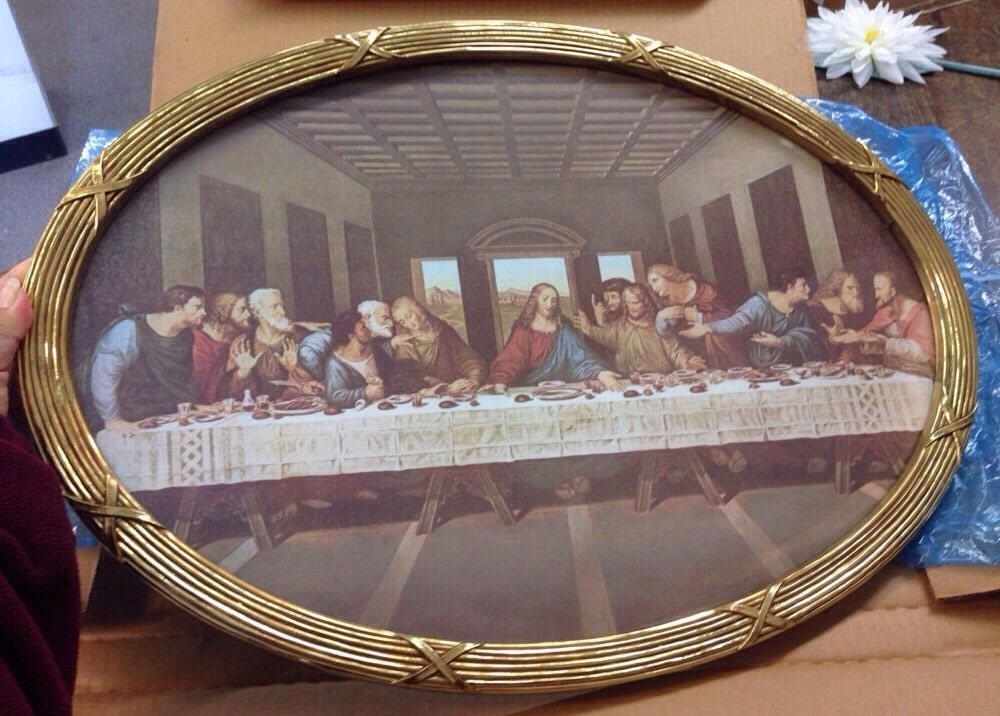 Home Interior And Gifts The Last Supper Print Oval Glass Frame Wall