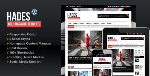 Download Hades Bold Magazine Newspaper Wordpress Template V163
