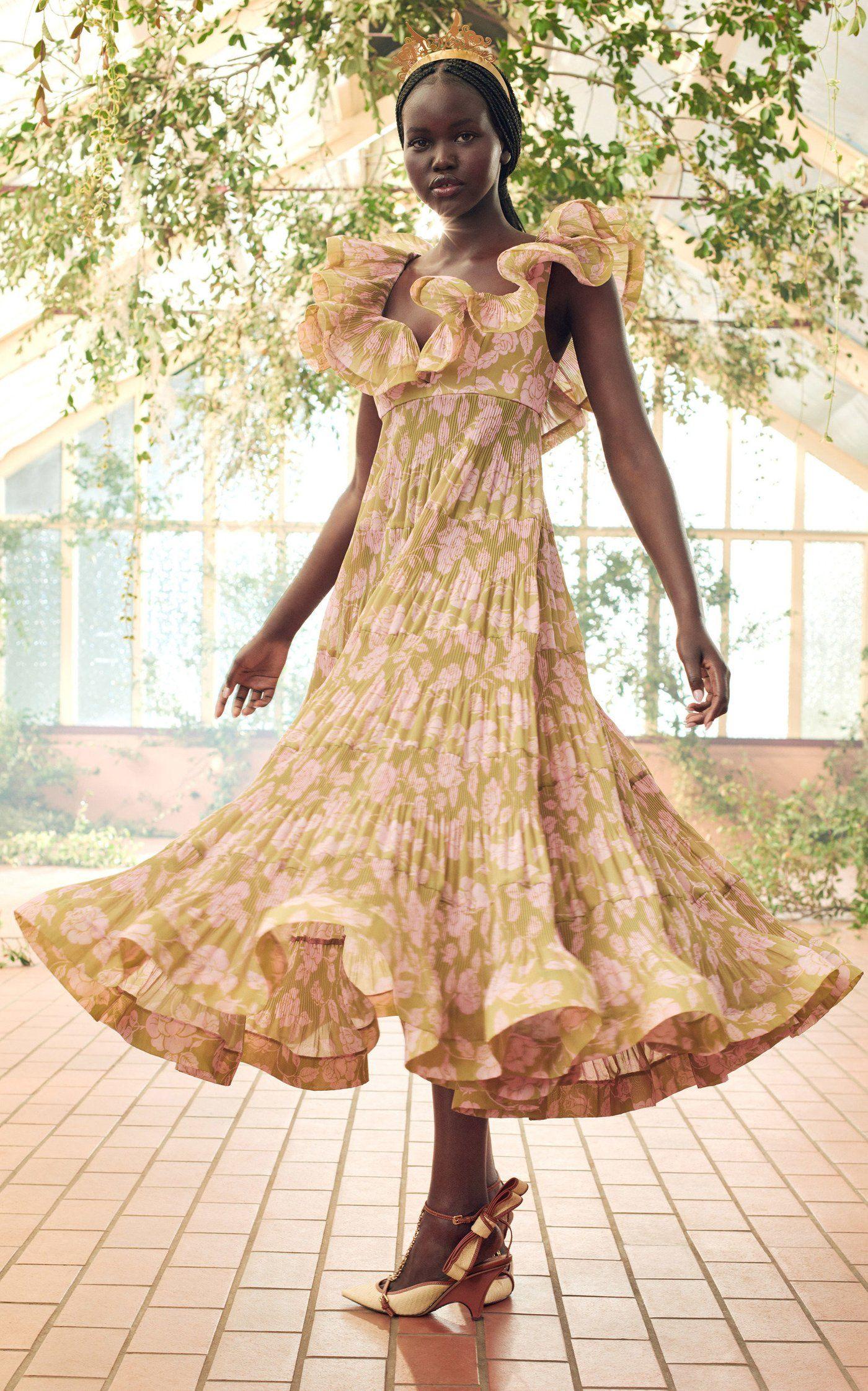 The Lovestruck Pleated Ruffle Maxi Gown By Zimmermann Moda Operandi Fashion Show Fashion Wedding Guest Dress Summer [ 2243 x 1400 Pixel ]