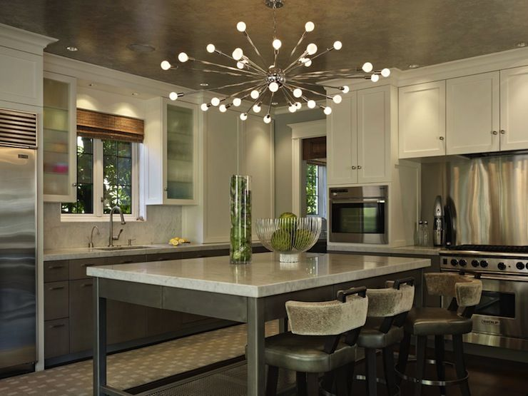 modern kitchen lights commercial floor mats toth construction contemporary design with sputnik chandelier over industrial island