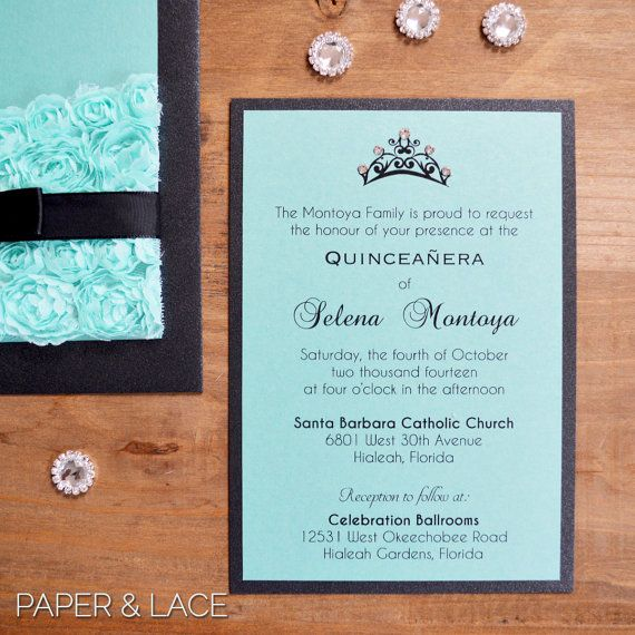 Rosette Quince Invitation Turquoise Lace By