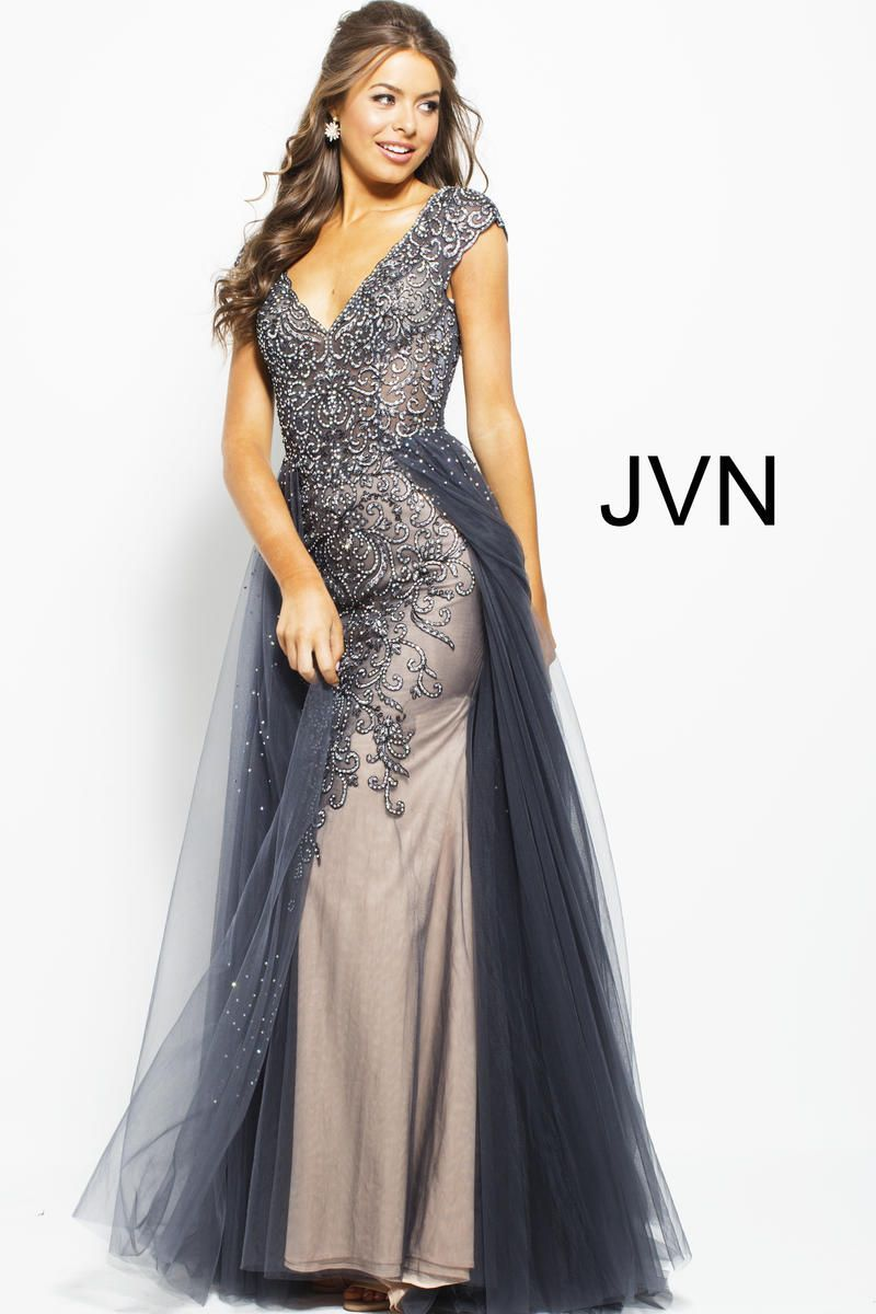 f741de903d7 Check out the deal on JVN Prom JVN60967 Beaded Gown with Overskirt at  French Novelty