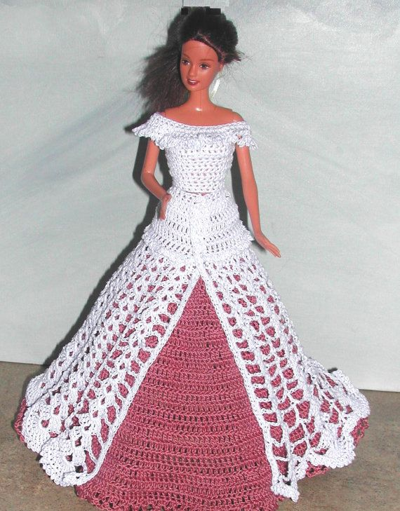 Crochet Fashion Doll Barbie Pattern- #687 EVENING AFTER SIX #3 ...