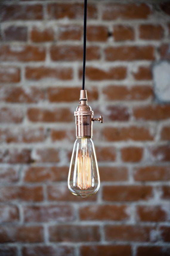 Industrial Plug In Pendant Light Copper Bare Bulb Socket Edison