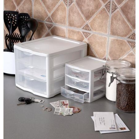 Sterilite Small 3 Drawer Organizer White Set Of 6 Plastic