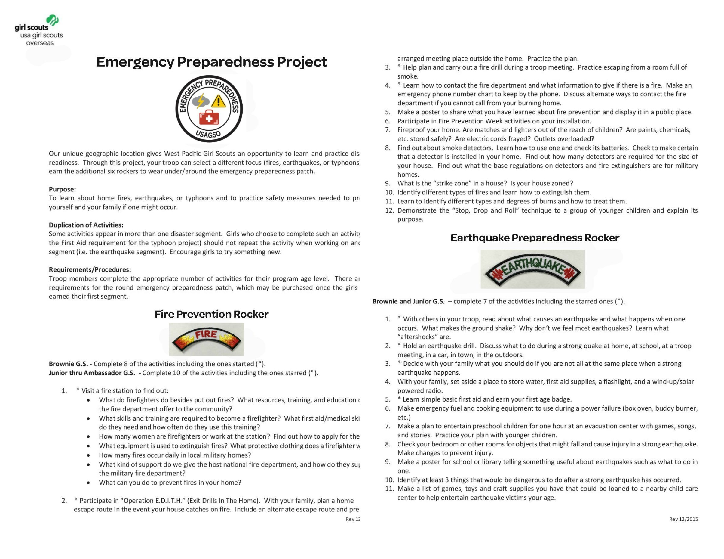Part  Usagso Emergency Preparedness Patch Requirements