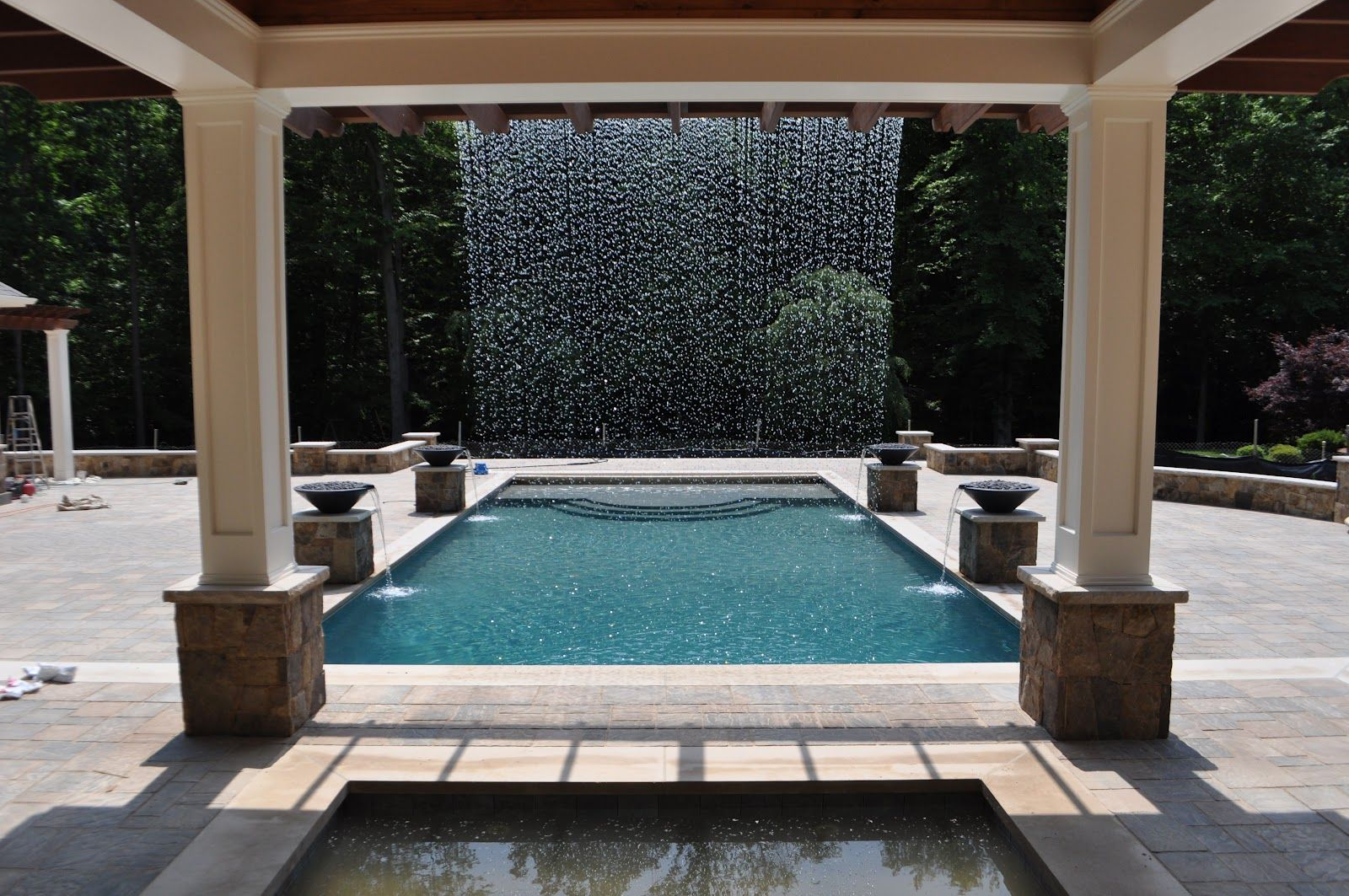 Landscape Architectural Design Rain Curtain Home Fountain Residential Pool Backyard Patio Designs